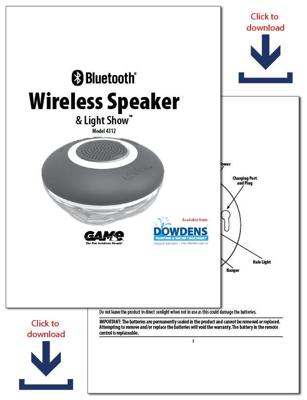 GAME Bluetooth Pool Speaker Brochure Downlaod