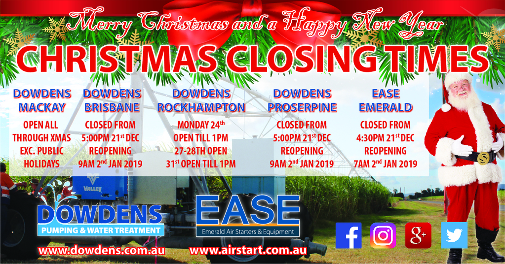 Dowdens Group Christmas Closing Dates
